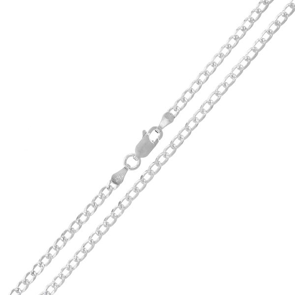 .925 Sterling Silver 3mm Solid Cuban Curb Link Diamond Cut ITProLux Necklace Chains 22281093