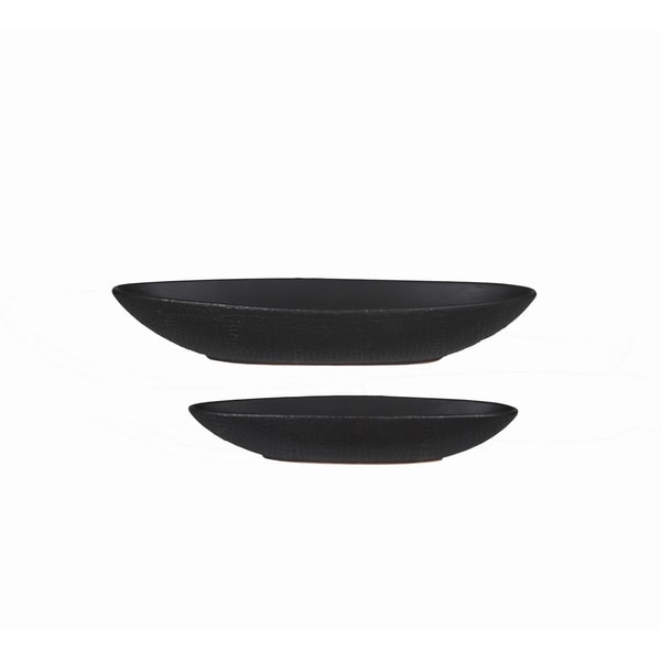 Privilege Dark Grey Ceramic Trays (Set of 2 Pieces)