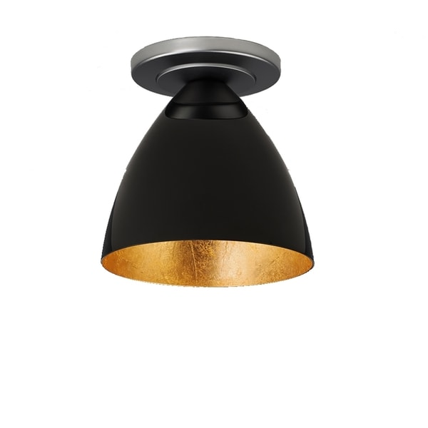 Bruck Lighting Cleo 1-LED Matte Chrome Ceiling Mount with Black Outer/Gold Inner Shade