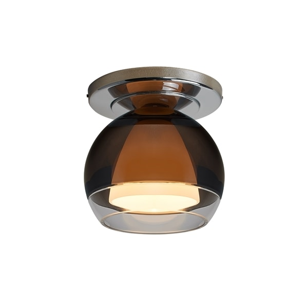 Bruck Lighting Matrix Chrome Brass and Smoky Metal Glass 1-light Low-voltage Ceiling-mount Fixture