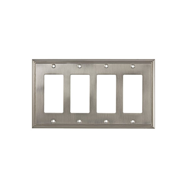 Rok Contemporary Brushed-nickel 4-gang Decora/Rocker/GFCI Switch Plate
