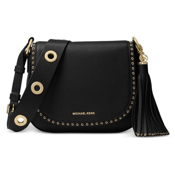 Michael Kors Brooklyn Medium Black Saddle Crossbody Handbag