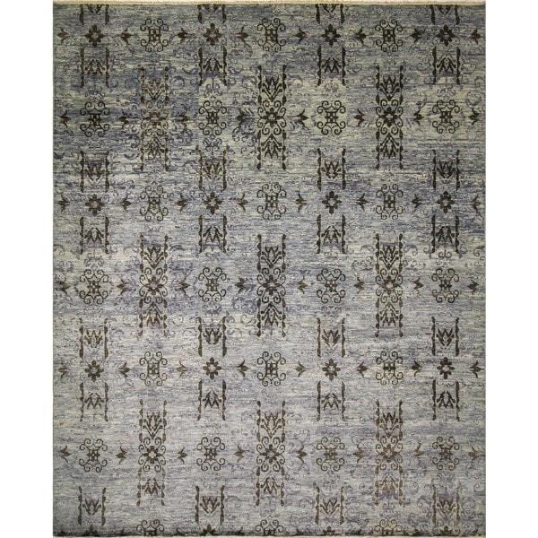 Fine Oushak Arai Lt. Blue/ Charcoal Rug (12'3 x 14'11)