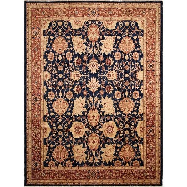 Peshawar Guljazira Blue/ Rust Rug (10'3 x 13'4) - 10'3 x 13'4 22285519