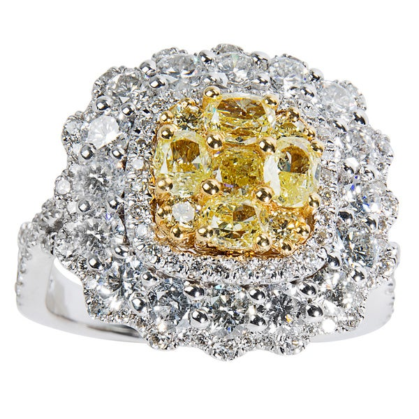 14K White Gold 3.05ct TDW Round White & Fancy Yellow Diamond Halo Cluster Ring (SI1-SI2)
