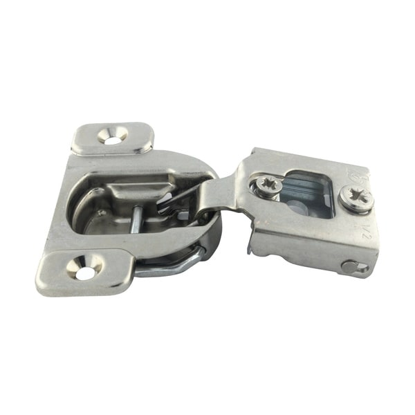 Silver-finished Steel 105-degree Compact 38N Series 5/8-inch Overlay Cabinet Hinge