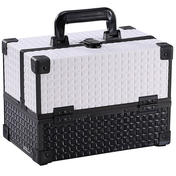 Ikee Design Black and White Cosmetic Travel Carrying Case with Sturdy Aluminum Frame