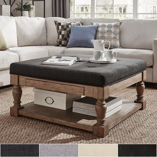Lennon Baluster Pine Storage Tufted Cocktail Ottoman by iNSPIRE Q Artisan