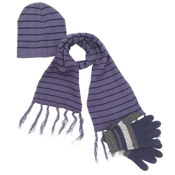 Striped Knitted Hat, Scarf, and Gloves 3-Piece Set