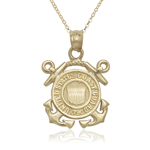 14k Yellow Gold US Coast Guard Emblem Medallion Pendant Necklace