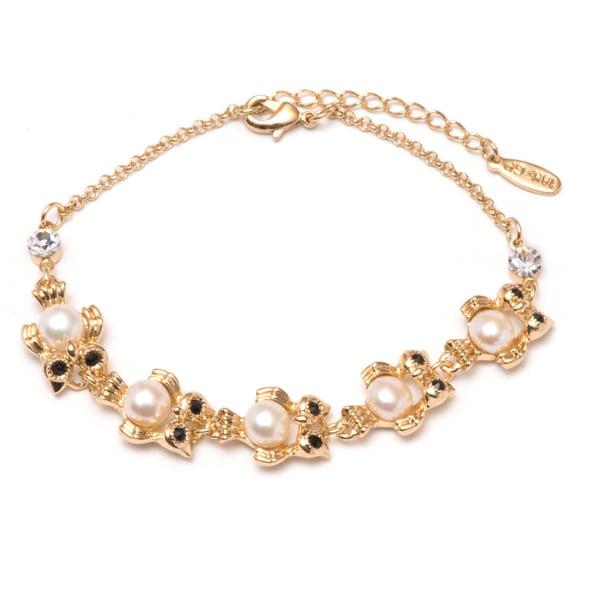18K Gold Plated Swarovski Elements & Freshwater Pearl Owl Bracelet