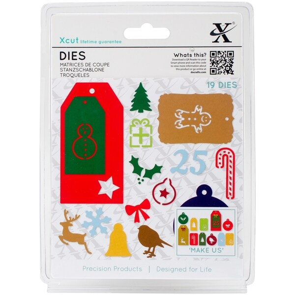 Xcut Decorative Dies 19/Pkg-Christmas Tags