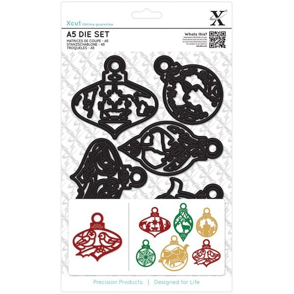 Xcut A5 Dies 6/Pkg-Christmas Paper Cut Baubles