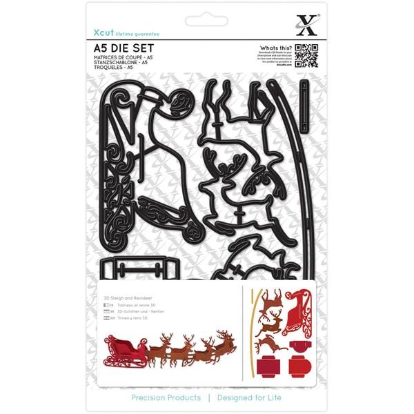 Xcut A5 Dies 9/Pkg-Reindeer & Sleigh