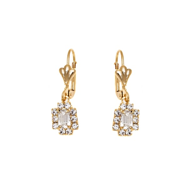 18k Goldplated Clear Crystal Frame Drop Earring