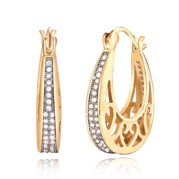 18k Goldplated Crystal Filigree Cut-out Basket-hoop Earrings