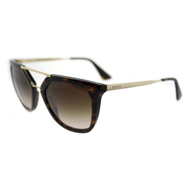 Prada PR 13QS 2AU6S1 Cinema Havana Plastic Cat-Eye Brown Gradient Lens Sunglasses