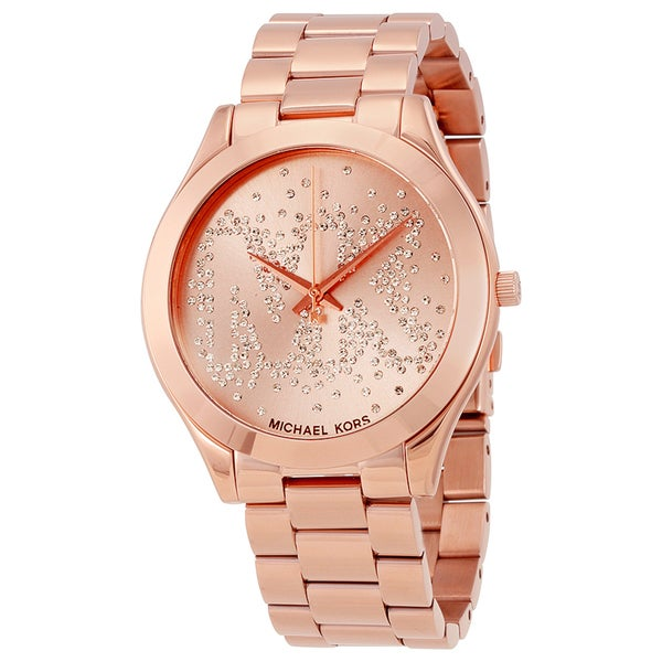 Michael Kors Women's MK3591 Slim Runway Crystal-Set Rose Gold Dial Rose Gold-Tone Stainless Steel Bracelet Watch