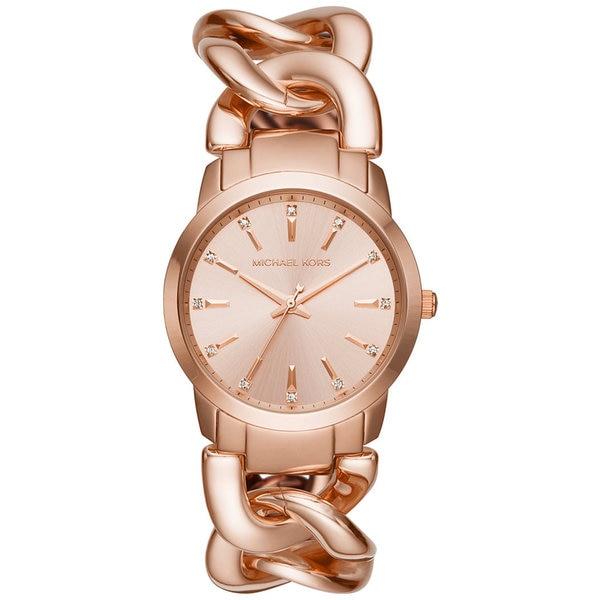 Michael Kors Women's MK3609 Elena Rose Gold Dial Rose Gold-Tone Stainless Steel Chain Link Bracelet Watch