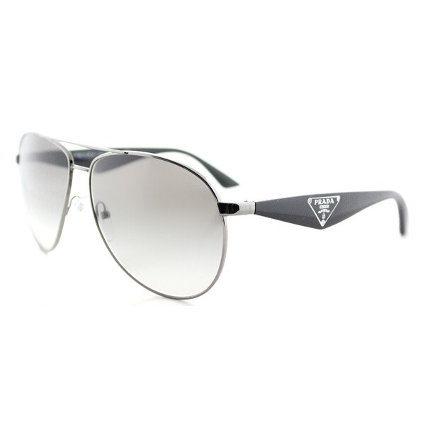 Prada PR 53QS 5AV0A7 Triangle Gunmetal Metal Aviator Grey Gradient Lens Sunglasses