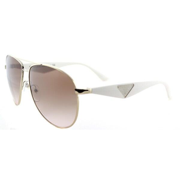 Prada PR 53QS ZVN0A6 Triangle Pale Gold Metal Aviator Brown Gradient Lens Sunglasses