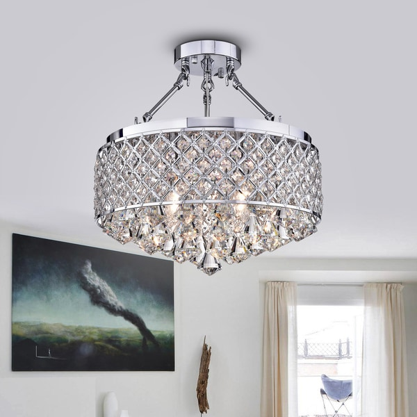 Viola Chrome-finish Crystal 15-inch Semi-flush Lamp