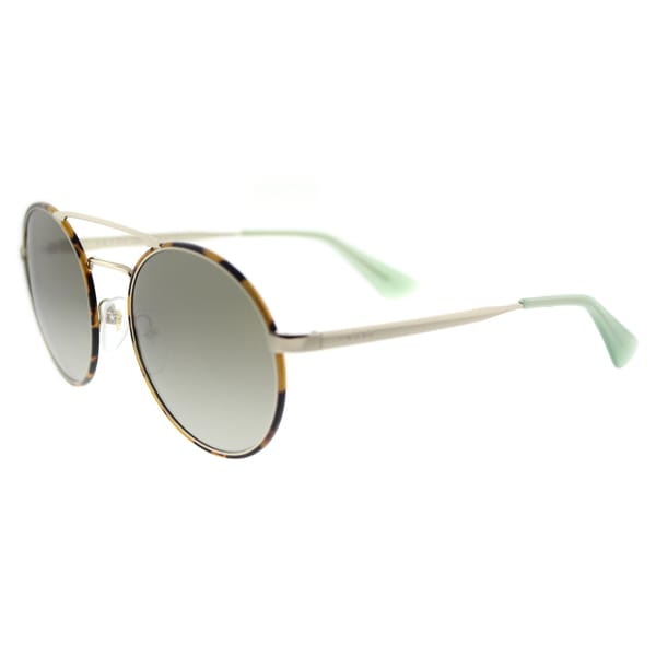 Prada PR 51SS 7S04K1 Pale Gold Metal Round Green Gradient Lens Sunglasses