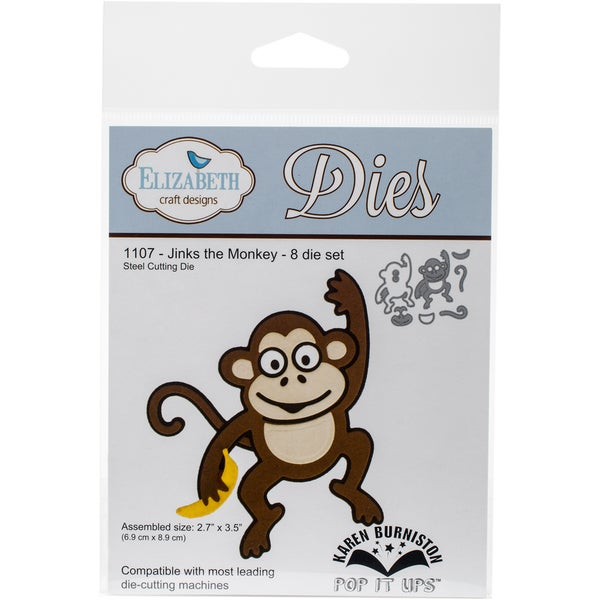 Elizabeth Craft Pop It Up Metal Dies By Karen Burniston-Jinks The Monkey, 2.7X3.5