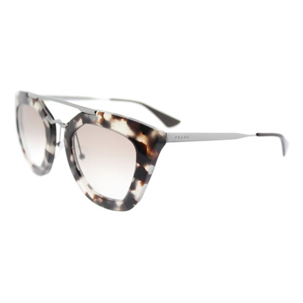 Prada PR 09QS UAO1L0 Cinema Spotted Opal Brown Plastic Cat-Eye Brown Gradient Lens Sunglasses