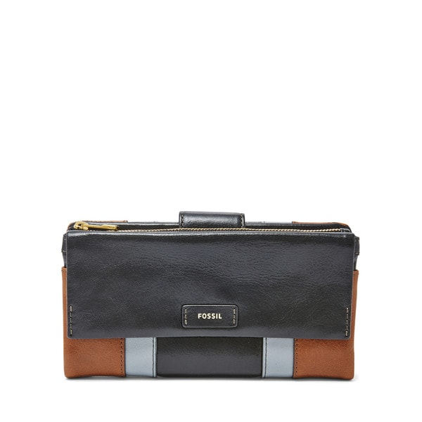 Fossil Ellis Neutral Multicolor Leather Clutch Wallet