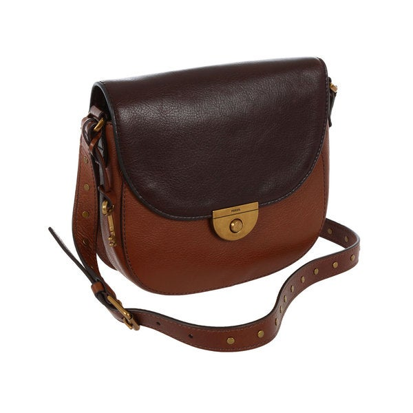 Fossil Pebbled Brown Leather Emi Saddle Bag