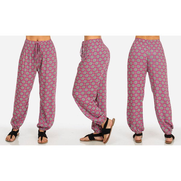 Women's High-Waisted Printed Harem Pants