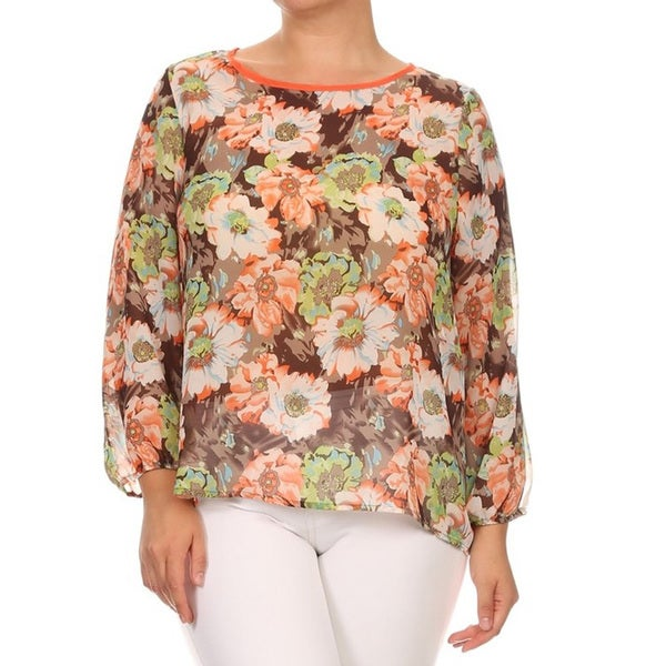 Women's Peach Floral Chiffon Plus Size Top