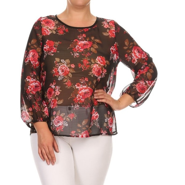 Women's Multi Floral Polyester Plus Size Chiffon Top