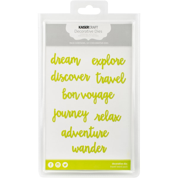 "Kaisercraft Word Theme Pack Dies-Travel .75""X1.5"" To .75""X2.75"""