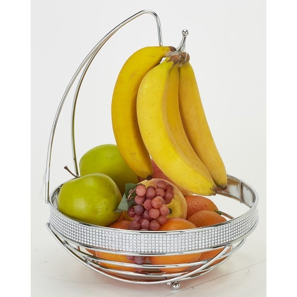Kitchen Details Chrome Round Fruit Basket With Banana Tree