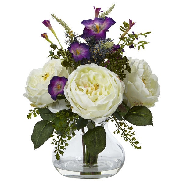 Nearly Natural Rose and Morning Glory Arrangement with Vase 22289015