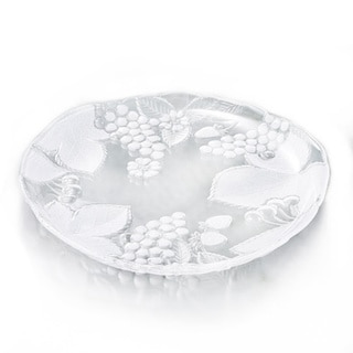 Red Vanilla Country Fields Frost Clear Lead-free Glass 14.5-inch Serving Platter