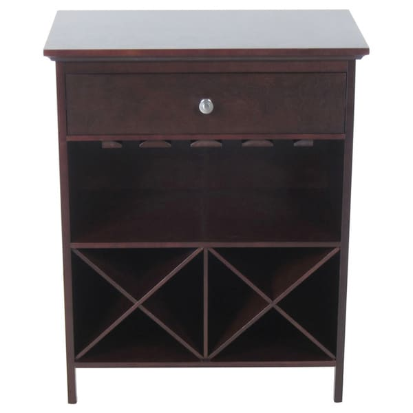 Dark Walnut Solid Wood Wine Storage Table 22289343