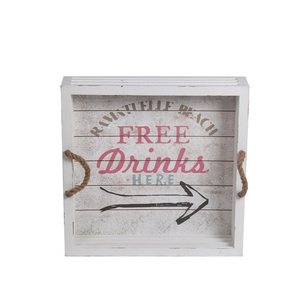 Privilege Medium White Wood Drink Tray