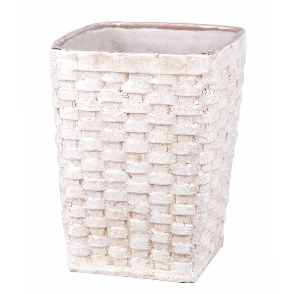 Privilege Large White Ceramic Weave Basket
