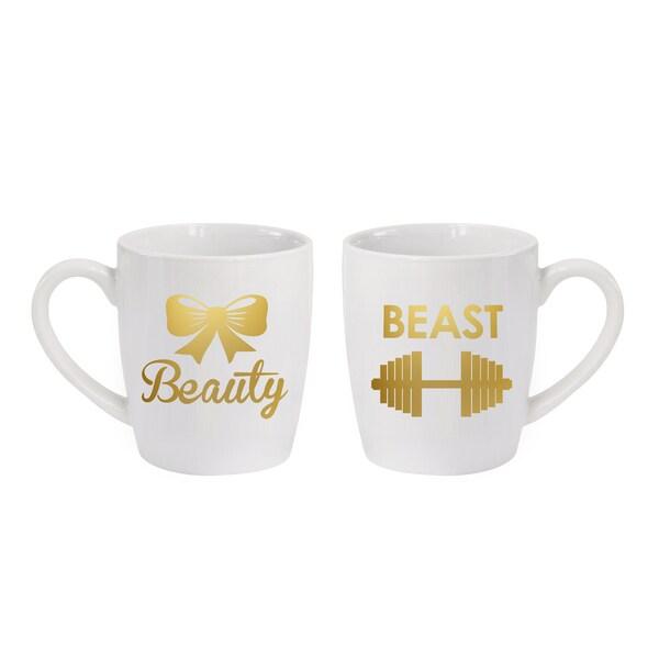 American Atelier White Earthenware Beast/Beauty Mugs (Set of 2)