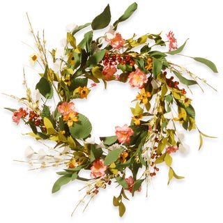 National Tree Company Off-white Fabric 22-inch Spring Flower Wreath