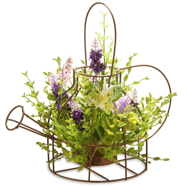 "11.5"" Lavender Iron Kettle Decor"
