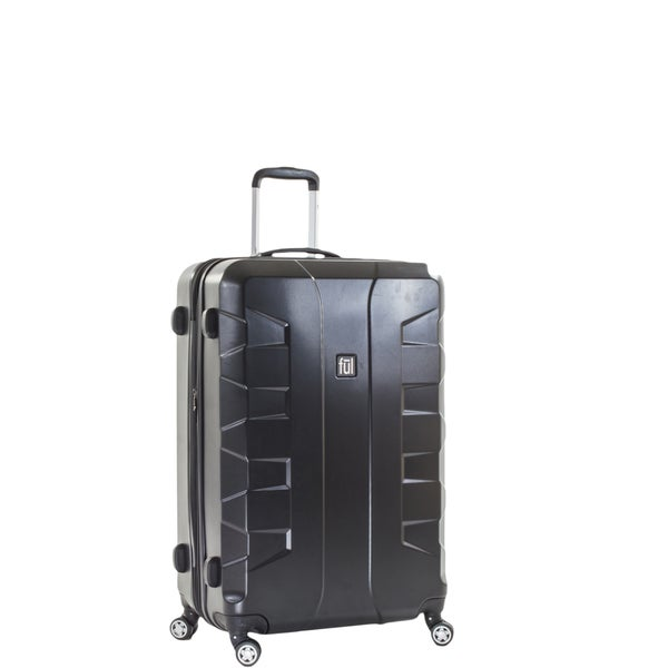 Ful Laguna 25-inch Upright Hard Case, Black Spinner Rolling Luggage Suitcase