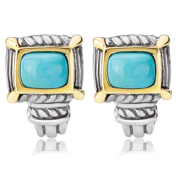Avanti Sterling Silver and 14K Yellow Gold Turquoise Cabochon Omega Clip Earrings 22291685