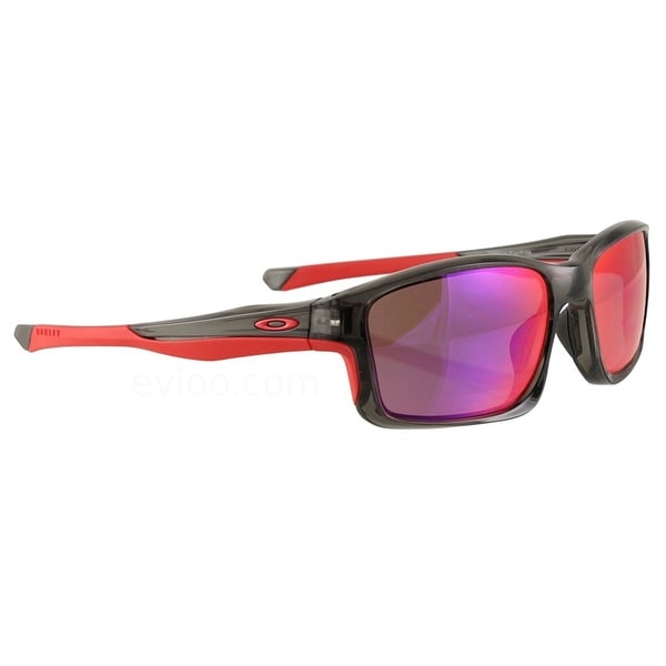 Oakley Men's Grey Smoke Plastic and Red Iridium Chainlink Rectangular Sunglasses With Polarized Lens