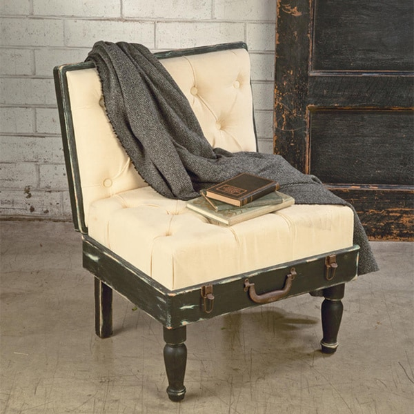 Black and Cream Padded Suitcase-style Accent Chair