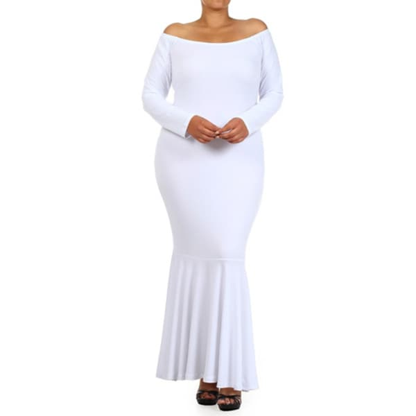 A Plus Mermaid White Polyester/Spandex Off-the-shoulder Maxi Dress