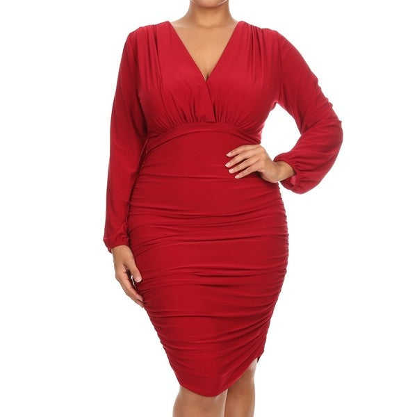 A Plus Style Bodycon Red Polyester, Spandex Empire Waist Midi Dress